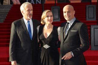 Кейт Уинслет, Джеймс Кэмерон и Билли Зейн на мировой премьере Титаника 3D